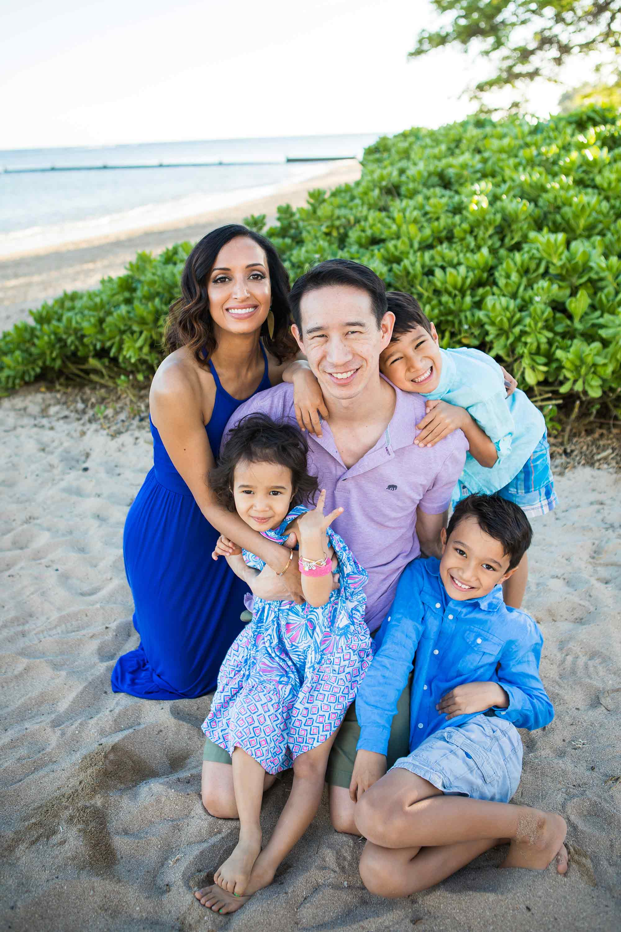 The Wong Family on the beach