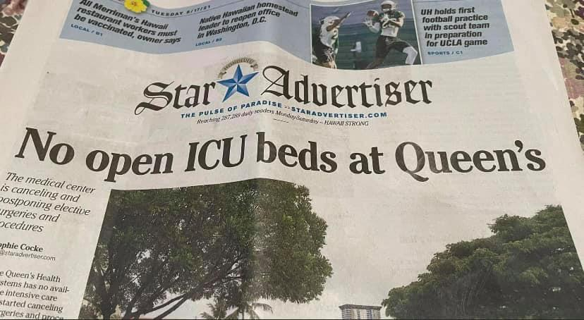 hawaii newspaper article showing ICU beds are full headline