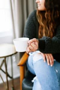 woman holding tea